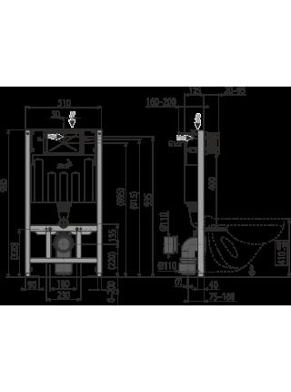 Инсталляция для подвесного унитаза AlcaPlast AM101/1000 Sadromodul