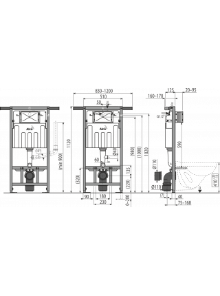 Инсталляция для подвесного унитаза AlcaPlast AM102/1000 Jadromodul