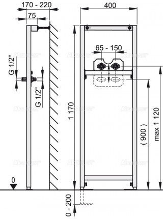 Инсталляция для смесителя AlcaPlast A104B/1200