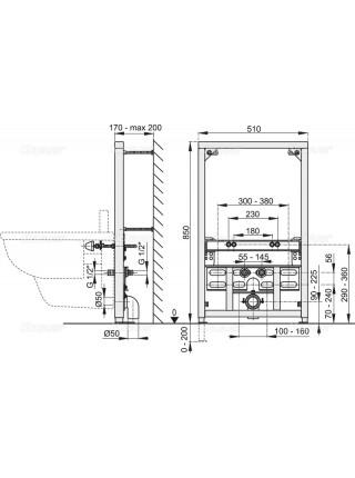 Инсталляция для подвесного биде AlcaPlast A105/850