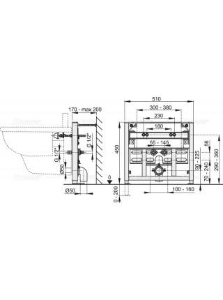 Инсталляция для подвесного биде AlcaPlast A105/450