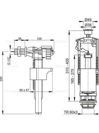 Механизм для бачка сливной и наливной AlcaPlast SA2000 G1/2 (боковой подвод, механизм однорежимный start/stop)