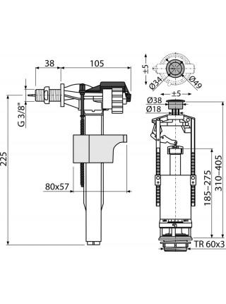 Механизм для бачка сливной и наливной AlcaPlast SA2000K G3/8 (боковой подвод, механизм однорежимный start/stop)