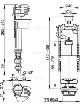 Механизм для бачка сливной и наливной AlcaPlast SA2000S G1/2 (нижний подвод, механизм однорежимный start/stop)