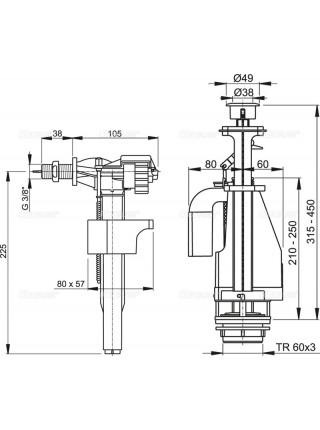 Механизм для бачка сливной и наливной AlcaPlast SA08A G3/8 (боковой подвод, механизм двухрежимный)