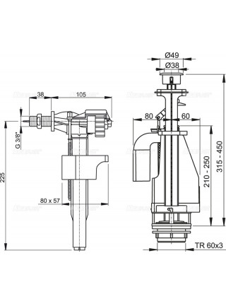 Механизм для бачка сливной и наливной AlcaPlast SA08AK G3/8 (боковой подвод, механизм двухрежимный)