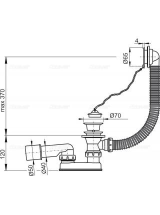 Слив-перелив для ванны AlcaPlast A502 (цепочка, пробка, внешние части пластик, белый)