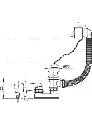 Слив-перелив для ванны AlcaPlast A502-80 (цепочка, пробка, внешние части пластик, удлиненный, белый)
