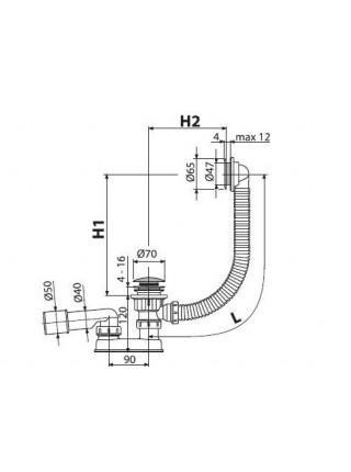 Слив-перелив для ванной AlcaPlast A505CRM (автомат (click-clak), внешние части пластик, хром глянец)