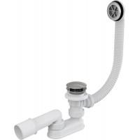 Слив-перелив для ванной AlcaPlast A505KM-80 (автомат (click-clak), внешние части металл, удлиненный, хром глянец)