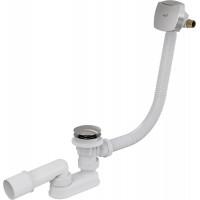 Слив-перелив для ванной AlcaPlast A508KM-80 (автомат (click-clak), внешние части пластик, удлиненный, хром глянец, с напуском воды через перелив)