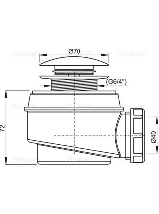 Сифон для душевого поддона AlcaPlast A466-50 Ø50 мм (автомат (click-clak), внешние части пластик, хром глянец)