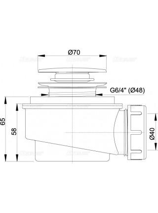 Сифон для душевого поддона AlcaPlast A476 Ø50 мм (автомат (click-clak), внешние части пластик, хром глянец, плоский)