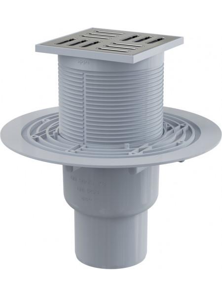 Трап для душа AlcaPlast APV201 105x105 мм. (вертикальный, решетка нержавеющая сталь, хром глянец, мокрый гидрозатвор)