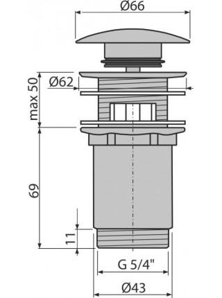 Донный клапан AlcaPlast A392 (хром глянец, click-clack)