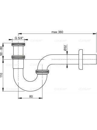 Сифон для раковины AlcaPlast A432 DN32 (хром глянец)