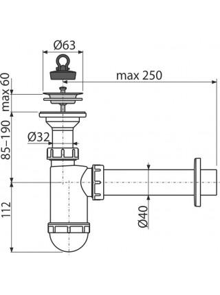 Сифон для раковины AlcaPlast A41 DN40 (белый)