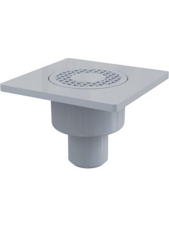 Трап для душа AlcaPlast APV4 150х150 мм. (вертикальный, решетка пластиковая, серая, мокрый гидрозатвор)