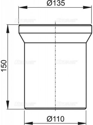 Фановый отвод для унитаза AlcaPlast A91-150 150 мм. (белый)
