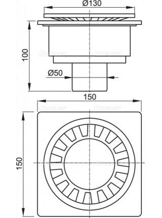 Трап для душа AlcaPlast APV16 150х150 мм. (вертикальный, решетка пластиковая, белый, мокрый гидрозатвор)
