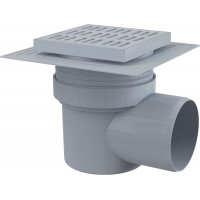 Трап для душа AlcaPlast APV10 150х150 мм. (решетка пластиковая, серый, мокрый гидрозатвор)