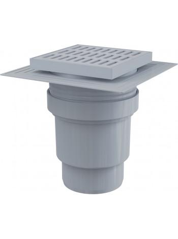 Трап для душа AlcaPlast APV11 150х150 мм. (вертикальный, решетка пластиковая, серый, мокрый гидрозатвор)