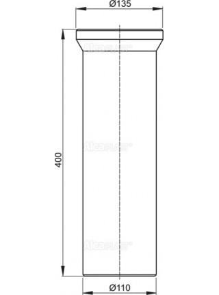 Фановый отвод для унитаза AlcaPlast A91-400 400 мм. (белый)