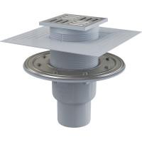 Трап для душа AlcaPlast APV2324 105x105 мм. (вертикальный, решетка нержавеющая сталь, хром глянец, комбинированный гидрозатвор Smart)