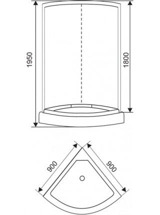 Душевая кабина Arcus Style S-01 90x90 (матовое стекло, низкий поддон, без крыши)