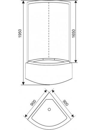 Душевая кабина Arcus Style S-02 90x90 (матовое стекло, высокий поддон, без крыши)