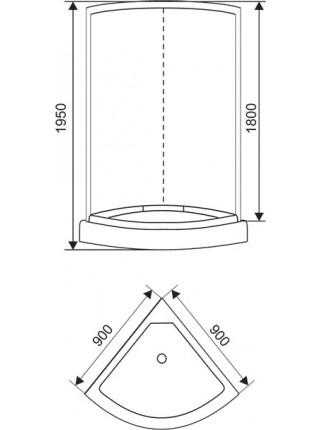 Душевой уголок Arcus AS-301-9 90x90 (матовое стекло, низкий поддон)