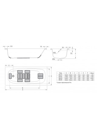 Стальная ванна BLB Universal HG B55HAH001 150х75 (без отверстий под ручки)