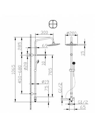 Душевая система Bravat FIT-R D283CP-2-RUS (хром глянец, без смесителя)
