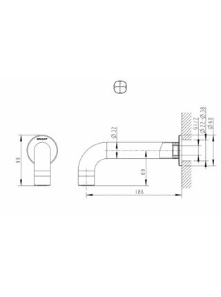 Настенный излив для ванны Bravat FS101C-RUS 186 мм. (хром глянец)