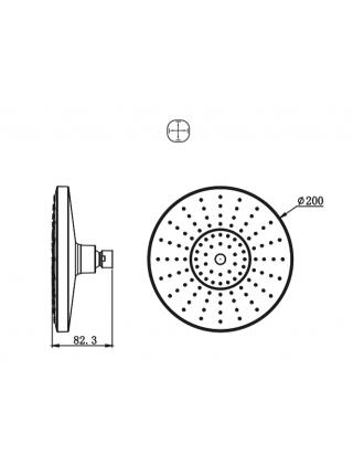 Верхняя душевая насадка Bravat P70183CP-1-RUS Ø200 мм. (хром глянец)