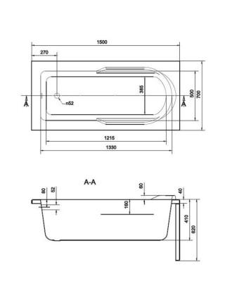 Ванна акриловая Cersanit Santana 150 WP-SANTANA*150 150х70