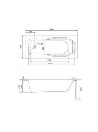 Ванна акриловая Cersanit Santana 160 WP-SANTANA*160 160х70