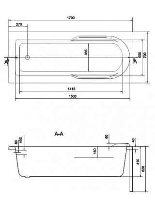 Ванна акриловая Cersanit Santana 170 WP-SANTANA*170 170х70