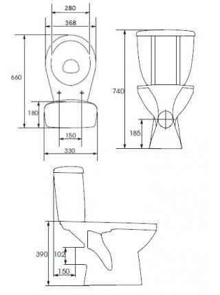 Унитаз напольный Cersanit Mito Grey S-KO-MIG031-ST-P-w (косой, полипропилен)
