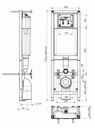 Инсталляция для подвесного унитаза Cersanit Leon New IN-MZ-LEON_NEW (с клавишей и установочным комплектом)