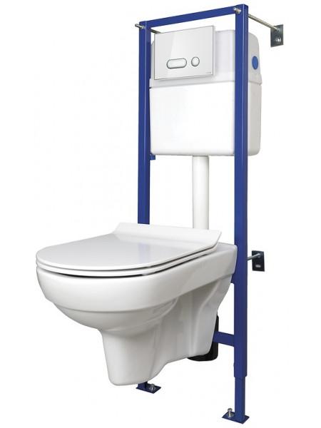 Комплект унитаз подвесной с инсталляцией Cersanit Сity New Clean ON SET-CITYC/LPRO/S-DL/WG (инсталляция+кнопка+унитаз City New Clean ON (безободковый)+крышка с микролифтом+уплотнитель)
