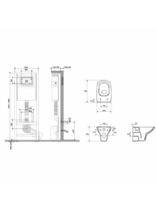 Комплект унитаз подвесной с инсталляцией Cersanit Carina Clean On S-SET-CARC/Vec/S-DL/BG-w (инсталляция+кнопка(черное стекло)+унитаз Carina Clean On+крышка с микролифтом)