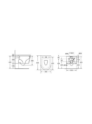 Унитаз подвесной Delice France Lorraine Suspendu (безободковый, дюропласт микролифт)
