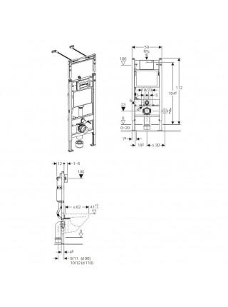 Инсталляция для подвесного унитаза Geberit Duofix 458.125.11.1 Платтенбау 3 в 1 (инсталляция, клавиша, крепеж)