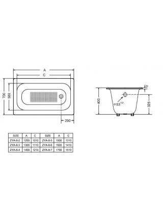 Чугунная ванна Goldman Classic  ZYA-8-3 130x70