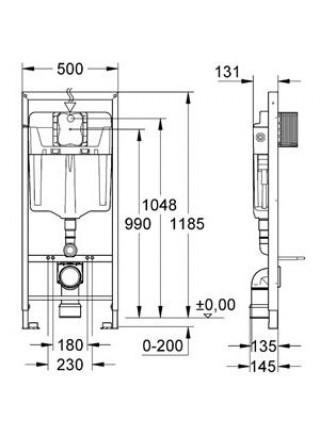 Инсталляция для подвесного унитаза Grohe Rapid SL 38772001 (комплект 3 в 1)