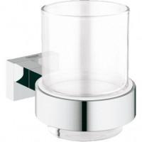 Стакан стеклянный с держателем Grohe Essentials Cube 40755001 (хром глянец)