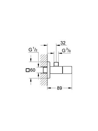 Угловой вентиль Grohe Eurocube 22012000 1/2*3/8 (хром глянец)