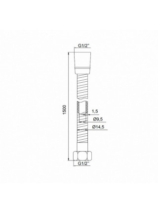Душевой шланг Iddis A50611 1.5 1500 мм. (чёрный-хром)