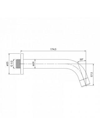 Настенный излив для ванны Iddis 001SB00i63 220 мм. (хром глянец)